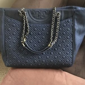 Tory Burch Denim Quilted Tote
